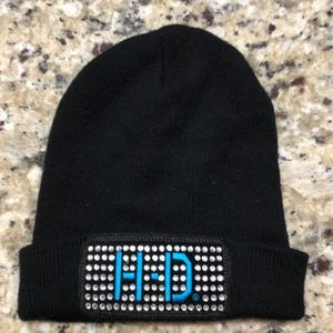 Knit beanie with Bling H-D patch